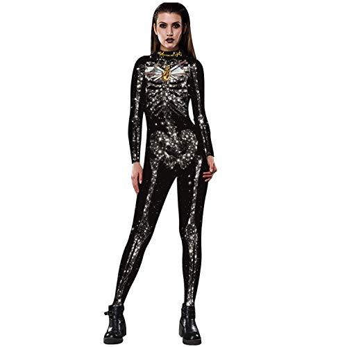 YSZDM Damen Skeleton Catsuit Halloween Strumpfhose Kostüm Skeleton 3D Print Enge Anzüge - Familienfreundliche Kostüm