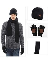OKSakady Donne e Uomini Beanie Cappello Sciarpa Guanti Impostato Caldo  Inverno Berretto Collo più Caldo 963eca611cca