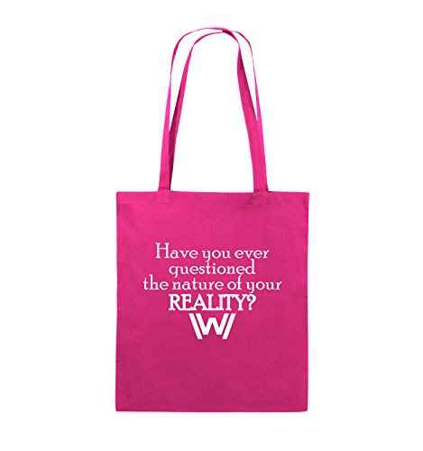 Comedy Bags - Have you ever questioned - WESTWORLD - Jutebeutel - lange Henkel - 38x42cm - Farbe: Schwarz / Pink Pink / Weiss
