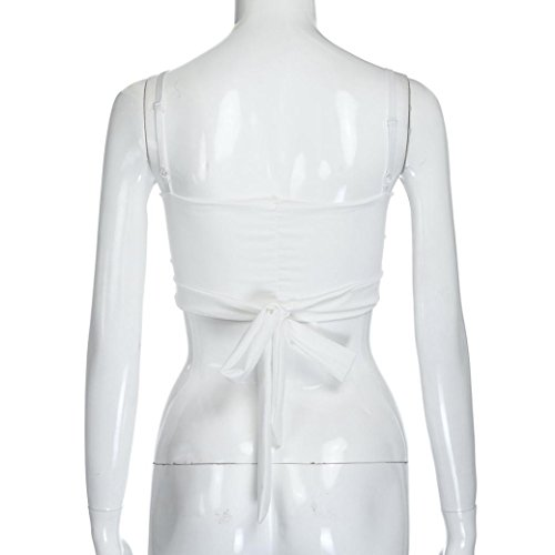 Damen Tops, Bekleidung Longra Sommer Frauen Crop Tops Weste Tank Damen Ärmelloses T-Shirt Cami Bluse White
