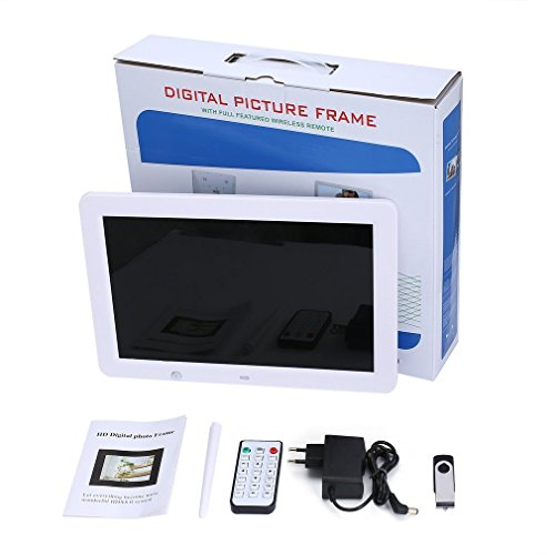 12-Zoll-HD-Digital Photo Frame-Bewegungs-Sensor und 8 GB Speicher LED-Bilderrahmen mit drahtloser Fernbedienung Musik MP3 Video MP4 (Mp4-videos)