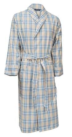 lloyd attree smith robe de chambre l g re 100 coton bross carreaux bleu beige homme. Black Bedroom Furniture Sets. Home Design Ideas