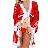 Damen Dessous Weihnachten Luckycat Damen Weihnachten PlüschBathrobe Lingerie Long Sleeve Underwear Sleepwear Underwear Nachtwäsche Unterwäsche