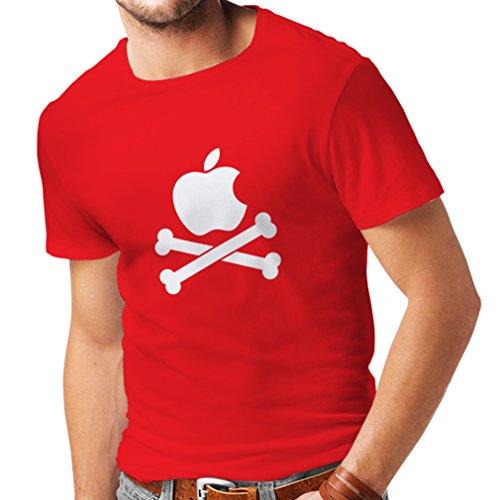 N4269 Männer T-Shirt Lustiger Apfel und Knochen (XX-Large Rot Weiß) (Touch Apple 5. Refurbished Ipod)