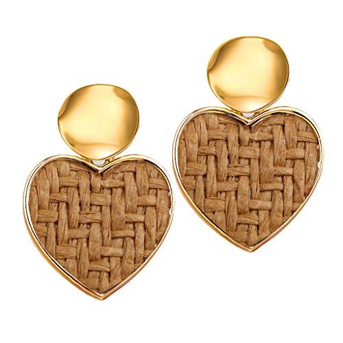 Maleya Acryl Große Ohrringe Harz Bolzen Ohrringe Böhmische Aussage Bolzen Tropfen Baumeln Ohrringe Schmucksachen für Frauen Mädchen Einfache Metallic Gold Außenring unregelmäßige Form Liebe -