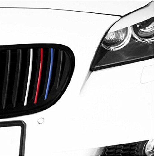 Muchkey - Adesivo riflettente per griglie auto laterali, colori blu scuro, rosso, bianco/argento, azzurro