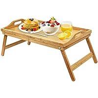 Bandeja de Desayuno de Bambú,Bandeja Portátil con Patas Plegables y asas para Transportar Escritorio Portátil
