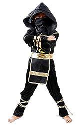 Ninja kostüm - kind - 4/6 jahre - kleid - samurai - junge - karneval - schulterhöhe bis zum boden 110/120 cm - originelle geschenkidee
