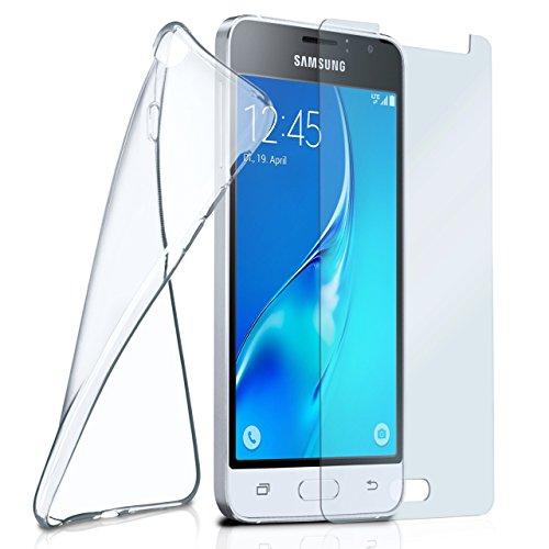 moex Silikon-Hülle für Samsung Galaxy J1 (2016) | + Panzerglas Set [360 Grad] Glas Schutz-Folie mit Back-Cover Transparent Handy-Hülle Samsung Galaxy J1 2016 Case Slim Schutzhülle Panzerfolie
