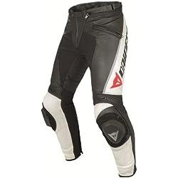 Dainese Delta Pro C2 Pantalones de Piel para Motociclista, Negro/Blanco, 50