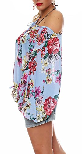 malito Fledermaus-Bluse im Off Shoulder Look Flower Print Oversize 7213  Damen One Size Blau ...