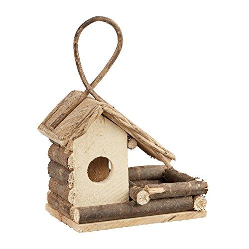 Relaxdays 10021103 casetta per uccelli da appendere nido uccellini classico in legno rifugio fatto a mano decorativo naturale