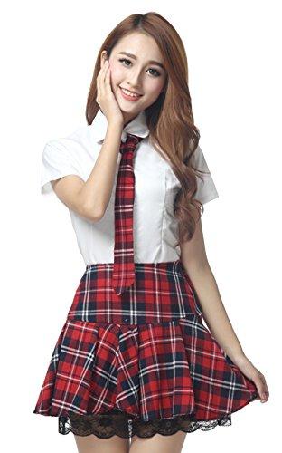 La vogue Damen Mädchen Schuluniform mit Spitze Cosplay Kostüm Rot Brust82cm~84cm