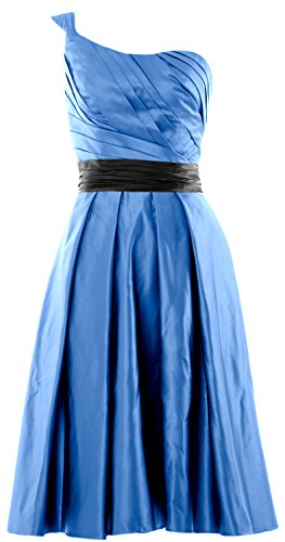 MACloth Women One Shoulder Satin Short Bridesmaid Dress Cocktail Party Gown Blau
