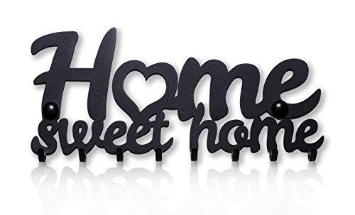 M-KeyCases Home Sweet Home Wand-Organizer Schlüsselbrett (9-Haken) Dekorativer Schlüssel-Board Hakenleiste Schlüsselleiste Vintage Decor Haus-tür Küche Fahrzeug-schlüssel Aufhänger Schwarz -