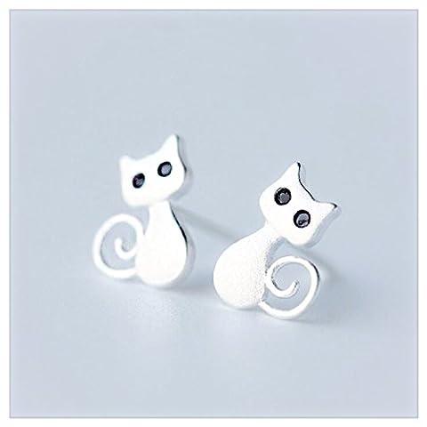 iszie jewellery Sweet Little Sterling Silver Cat Stud Earrings with Cubic Zirconia Stone Eyes