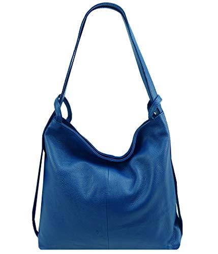 Freyday 2in1 Damen Handtasche Rucksack Designer Luxus Henkeltasche aus 100% Echtleder (Royalblau)