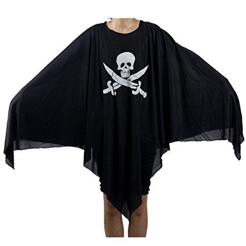 VORCOOL Kreative Halloween Piraten Geist Kostüm Sichel Geist Kleidung & Schreien Geistermaske Cosplay Requisiten Set für Erwachsene (Schwarz)
