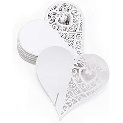 50 uds de marcasitios en forma de corazón