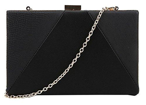 Kukubird Steph contrasto materiale pannello blocco colorato colore strutturato partito Prom frizione borsa borsetta con sacchetto raccoglipolvere Kukubird Black