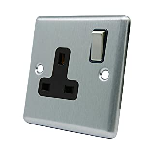 Single Plug Socket 1 Gang - Satin Chrome - Square - Black - Metal Rocker Switch - 13 Amp