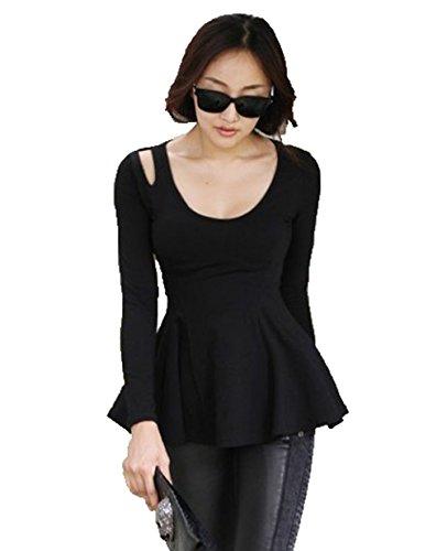 TYERY T-Shirt De Couleur Unie,Noir,M