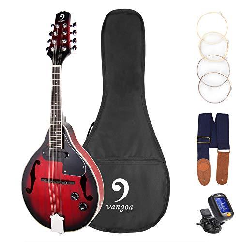 Vangoa Elektrische Mandoline mit 8 Saiten, Mahagoni, mit Gigbag Picks, extra Saiten, Stimmgerät und Gurt