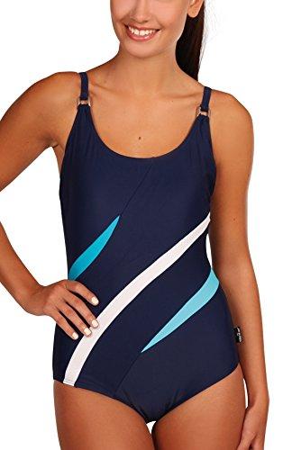 eleMar Damen Badeanzug, blau (Pazifik/Türkis/Weiß/Hawaii), Badeanzug-4 - 4-052, 42D