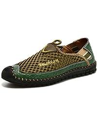 Botia Herren Mokassins Sommer-Turnschuh-Breathable-Leder-Maschen-Treibende Schuhe Bequeme Weiche Handgemachte Müßiggänger
