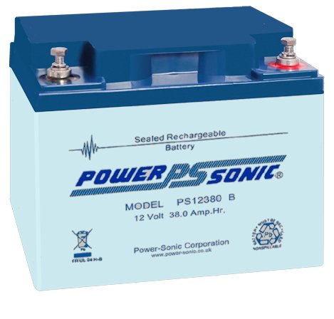 Bleiakku - Akku Powersonic PS 12380 - Powersonic PS12380 - Powersonic PS-12380 mit VdS Zulassung - 12V 38,0Ah - Rechargeable Sealed Lead Acid (SLA) Battery - AGM / Blei Vlies Sealed Lead Acid-agm