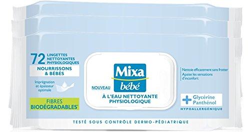 Mixa Bébé - Lingettes A L'eau Nettoyante - 288 Lingettes (4 lots de 72)