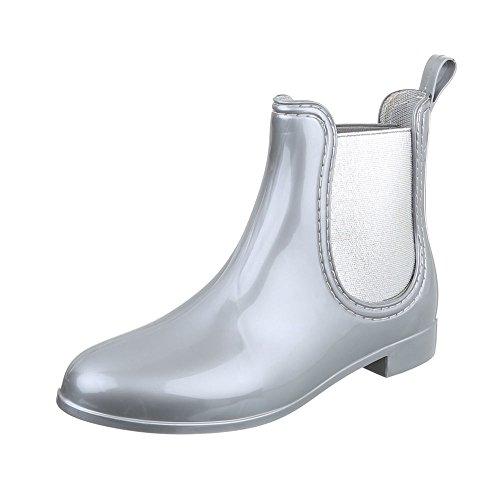 Ital-Design Gummistiefeletten Gummi Damen-Schuhe Gummistiefel Blockabsatz Blockabsatz Stiefeletten Silber, Gr 37, ()