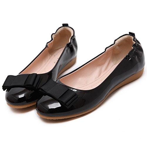 Evedaily Damen Pumps Slipper Lederoptik Flats Freizeit Schuhe Y928-1 Schwarz