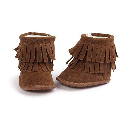 Hunpta Neue Baby jungen Mädchen Baby Schneestiefel halten Warm Doppelstock-Quasten weiche Sohle weiche Krippe Schuhe Kleinkind Stiefel (11, Dark Gray) Khaki