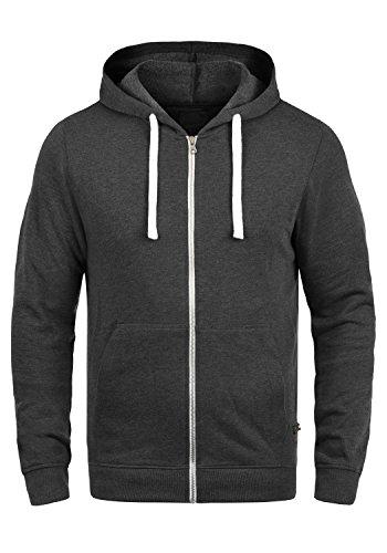 PRODUKT Paladius Herren Sweatjacke Kapuzen-Jacke Zip-Hoodie aus einer hochwertigen Baumwollmischung Meliert, Größe:M, Farbe:Dark Grey Melange