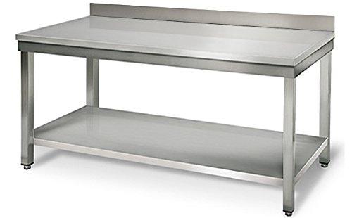 GOO Gastro GO7032G Gewerbe Arbeitstisch 2,0m - mit Grundboden und Aufkantung B 2000 x T 600 x H 850 mm Edelstahl Tisch Edelstahltisch Küchentisch Arbeitstisch Anrichte