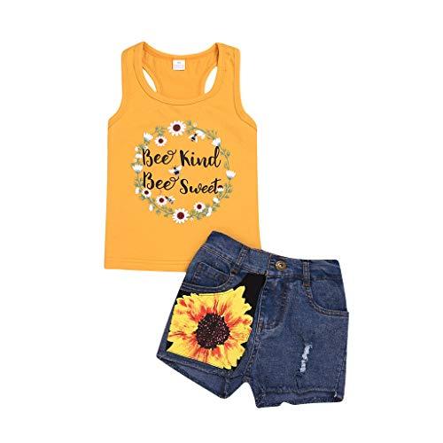 BeautyTop Toddler Kinder Sonnenblumendruck Outfit Set 2pcs Frühling Sommer Bekleidungsset Nette Baby Mädchen Kind Kleidung Weste Tops T-Shirt Bluse + Jeans Kleidungsset Zweiteiliges (Berg-mann-kleidung)