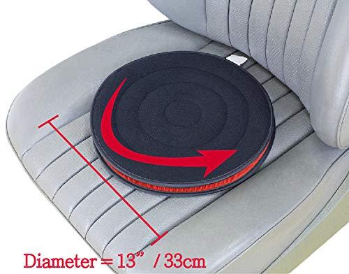 ObboMed SS-2723 360° Rotierendes Flexibles Drehbares Auto Sitzkissen mit Kunstleder Basisteil, innerem ABS Plastikteil, Speziell für Sportliche Fahrzeugsitze; Schwarz - 33 (Durchmesser) x 2,5 (H) cm