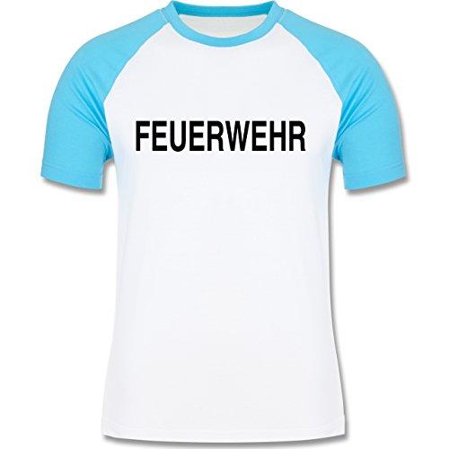 Feuerwehr - Feuerwehr Schriftzug - zweifarbiges Baseballshirt für Männer  Weiß/Türkis