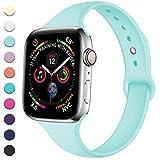 Lerobo Sport Correa para Apple Watch 38mm 40mm, Correa de Pulsera de Reemplazo de Silicona Suave Delgada para Apple Watch Series 4/3/2/1 Mar Azul