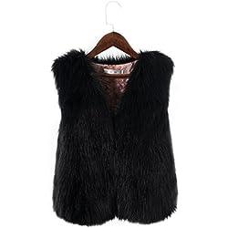 Las mujeres invierno chaleco abrigo corto mujer ropa abrigo de piel sintética Artificial elegante Slim sin mangas chaqueta chaleco, negro, Large