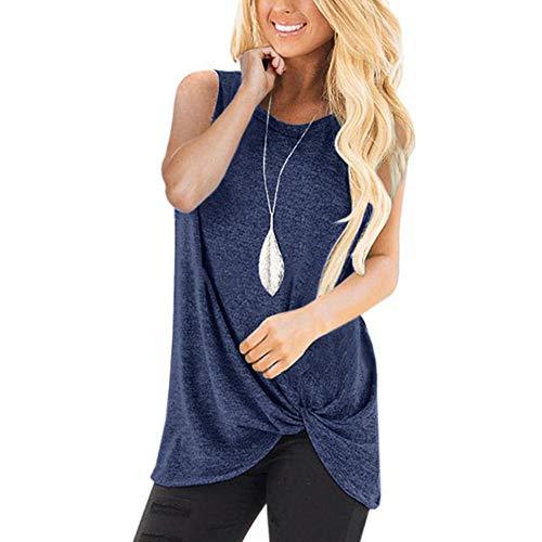JUSTSELL ▾ Frauen Weste - Rundhals Volltonfarbe Multi-Color Sleeveless T-Shirt Loose Twist Tank Top Sport Top Street Dance Top