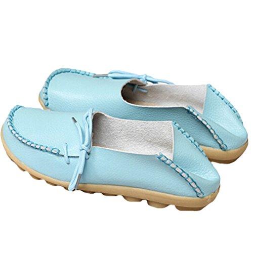 Vogstyle Damen Casual Slipper Flatschuhe Low-top Schuhe Erbsenschuhe Hellblau-Art 1