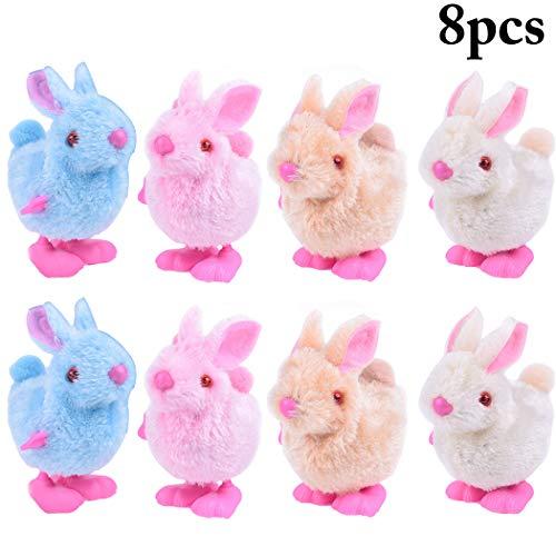 Justdolife 8pcs pasqua finisci giocattoli favori di peluche simpatici coniglietti pasquali giocattoli per bambini