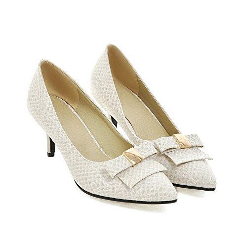 AgooLar Femme Tire Pu Cuir Pointu à Talon Correct Mosaïque Chaussures Légeres Beige
