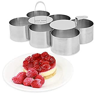 8 Piece Cooking & Dessert Ring Set | 6 x Presentation Mould Rings | 1x Food Press & 1 x Spatula | Stainless Steel Food Presentation Set | For Sweet & Savoury | M&W