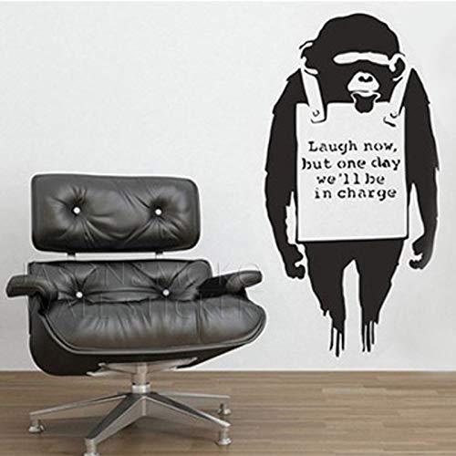 xuritaotao AFFE Weste Worte Zitate Buchstaben Banksy Tapete Vinyl Wandaufkleber Aufkleber Wandbild Für Schlafzimmer Wohnzimmer 50X100 cm Wohnkultur