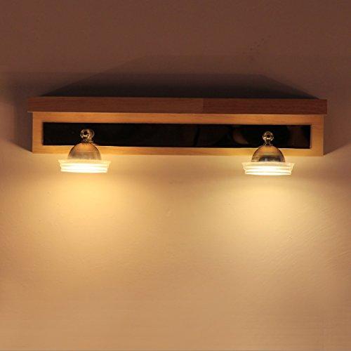 Spiegellampen Holz Spiegelschrank Licht LED Spiegel Frontleuchte Badezimmer Schminkspiegel Lampen Badezimmer Wandleuchte ( größe : L37CM*H12CM ) (Klar, Holz-konservierungsmittel)