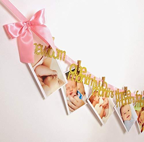 Eulan Decoration Starworld Newborn to 12 Months Photo Bannner, Baby Growth Record Frist Birthday Garland for Baby Birthday Decoration (Pink)