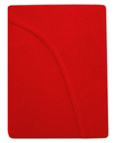 Farbenfrohes Jersey Spannbettlaken Spannbetttuch Bettlaken aus hautsympathischer 100% Baumwolle (120 x 200 cm, Rot) - 2